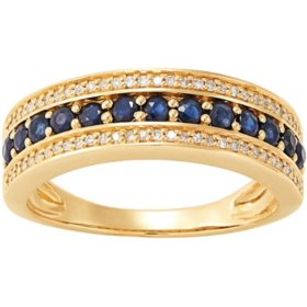 Blue Sapphire and Diamond Band Ring in 14K Yellow Gold