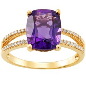 Cushion-Cut Amethyst with .11 ct. t.w. Diamond Ring in 14K Yellow Gold