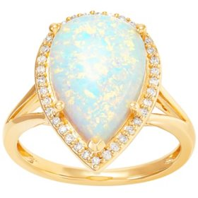 Pear- Shaped Lab Created Opal and Diamond Ring in 14K Yellow Gold