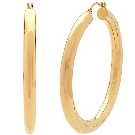 14K Yellow Gold Round Hoop Earrings-5x50MM