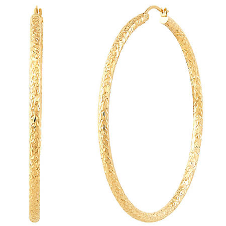 3x60MM Round Crystal Cut Hoop Earrings in 14K Yellow Gold