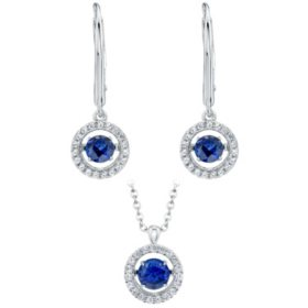 Sterling Silver Dancing Lab Created Blue & White Sapphire Earring and Pendant Set