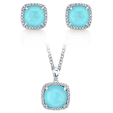 Sterling Silver Arizona Turquoise and 0.18 CT. T.W. Diamond Earring and Pendant Doublet Set