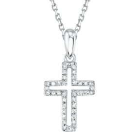Sterling Silver 0.07 CT. T.W. Diamond Cross Pendant