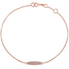 "0.10 CT. Diamond Charm Station Bracelet in 14K Rose Gold, 7"" + 0.5"" Ext."