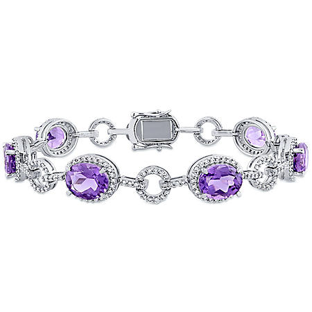 Allura 14 CT. T.G.W. Amethyst and 1.54 CT. T.W. Diamond Halo Oval Link Bracelet in 14K White Gold