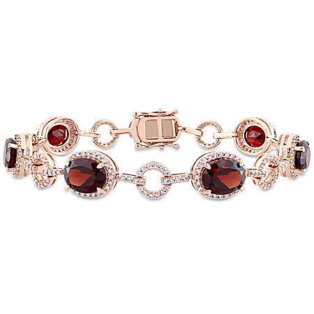 Allura 14.7 CT. T.G.W. Garnet and 1.54 CT. T.W. Diamond Halo Oval Link Bracelet in 14K Rose Gold