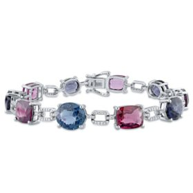 Allura 26 CT. T.G.W. Multi-Color Spinel and 0.53 CT. T.W. Diamond Oval Link Bracelet in 14K White Gold