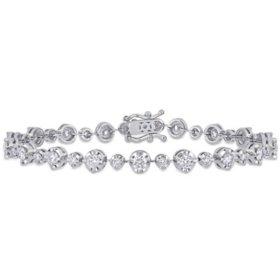 "Allura 3 CT. Diamond Station Bracelet in 18k White Gold, 7"""