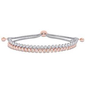 Allura 1 CT. T.W. Diamond Double Layered Tennis Bolo Bracelet in 14K White and Rose Gold