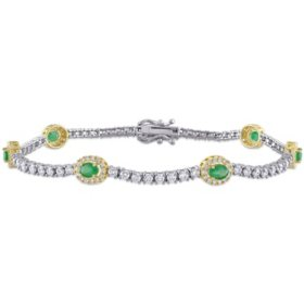 Allura 0.9 CT. T.G.W. Emerald and 2.1 CT. T.W. Diamond Station Tennis Bracelet in 14K White and Yellow Gold