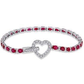 Allura 5.63 CT. T.G.W. Ruby and 0.70 CT. T.W. Diamond Tennis Heart Charm Bracelet in 18k White Gold