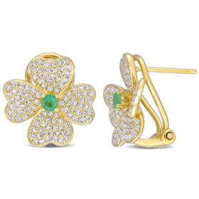 Allura 0.2 CT. T.G.W. Emerald and 0.98 CT. T.W. Diamond Floral Cuff Earrings in 18K Yellow Gold