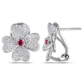 Allura 0.24 CT. T.G.W. Ruby and 0.98 CT. T.W. Diamond Floral Cuff Earrings in 14K White Gold