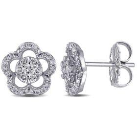 Allura 0.45 CT. T.W. Diamond Flower Stud Earrings in 14k White Gold