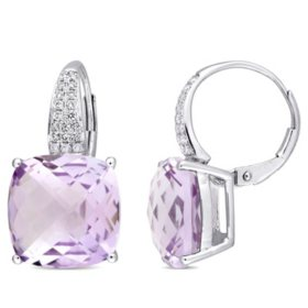 12 CT. T.G.W. Rose de France and 0.20 CT. T.W. Diamond Leverback Earrings in 14K White Gold