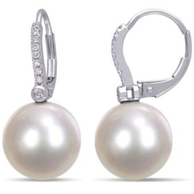 11-12 MM White South Sea Pearl and 0.12 CT. T.W. Diamond Leverback Earrings in 14k White Gold
