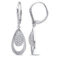 Allura 0.45 CT. T.W. Diamond Leverback Earrings in 14k White Gold