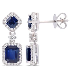 Allura 2.36 CT. T.G.W. Blue Sapphire and 0.37 CT. T.W. Diamond Halo Dangle Earrings in 14K White Gold