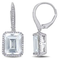 White Topaz and 0.12 CT. T.W. Diamond Leverback Earrings in Sterling Silver