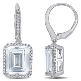 11.14 CT. T.G.W. White Topaz and 0.14 CT. T.W. Diamond Leverback Earrings in Sterling Silver