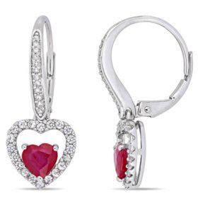 1.15 CT. T.G.W. Ruby 0.4 CT. T.G.W. White Sapphire and 0.088 CT. T.W. Diamond Leverback Earrings in 14K White Gold