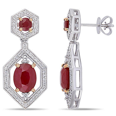 Allura 4.92 CT. T.G.W. Ruby and 0.626 CT. T.W. Diamond Geometric Halo Earrings in 14K White Gold