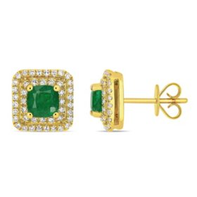 Allura 1 CT. T.G.W. Emerald and 0.44 CT. T.W. Diamond Halo Square Stud Earrings in 14K Yellow Gold