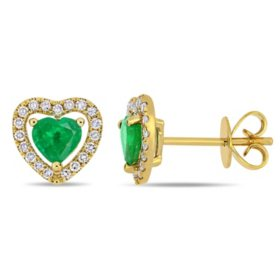 0.66 CT. T.G.W. Emerald and 0.19 CT. T.W. Diamond Halo Heart Stud Earrings in 14K Yellow Gold