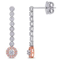0.28 CT. T.W. Diamond Dangle Earrings in 14k White and Rose Gold