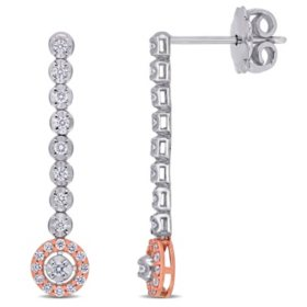 0.304 CT. T.W. Diamond Dangle Earrings in 14K White and Rose Gold