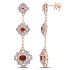 Allura 1.58 CT. T.G.W. Garnet and 0.87 CT. T.W. Diamond Quatrefoil Dangle Earrings in 14K Rose Gold