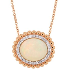 3.5 CT. T.G.W. Ethiopian Blue-Opal and 0.252 CT. T.W. Diamond Double Halo Necklace in 14k Rose Gold