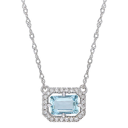 0.55 CT. T.G.W. Aquamarine and 0.096 CT. T.W. Diamond Halo Necklace in 14k White Gold