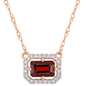 0.8 CT. T.G.W. Garnet and 0.096 CT. T.W. Diamond Halo Necklace in 14k Rose Gold