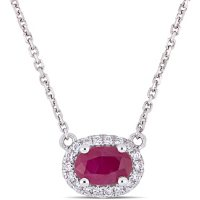 Ruby and 0.08 CT. T.W. Diamond Oval Halo Necklace in 14K White Gold