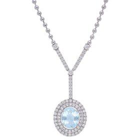Allura 2.77 CT. T.G.W. Aquamarine and 1.54 CT. T.W. Diamond Oval Halo Necklace in 14k White Gold