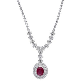 Allura 3.74 CT. T.G.W. Ruby and 2.735 CT. T.W. Diamond Halo Drop Necklace in 14k White Gold