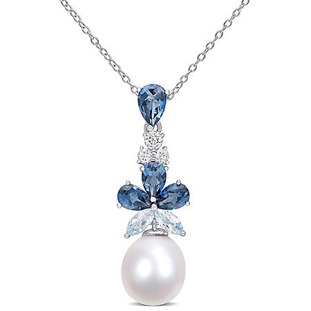 9.5-10 MM White Freshwater Cultured Pearl 2.4 CT. T.G.W. London-Blue Topaz 0.56 Ct. T.G.W. Sky-Blue Topaz and 0.31 CT. T.G.W. White Topaz Drop Pendant in Sterling Silver