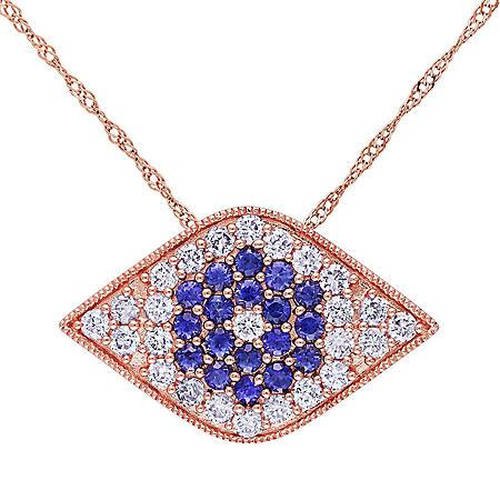 "Allura 0.59 CT. Sapphire and 0.63 CT. Diamond Evil-Eye Pendant in 14k Rose Gold, 17"""