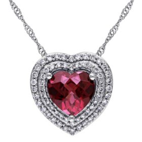 2 CT. T.G.W. Rhodolite and 0.272 CT. T.W. Diamond Double Heart Pendant in 14K White Gold