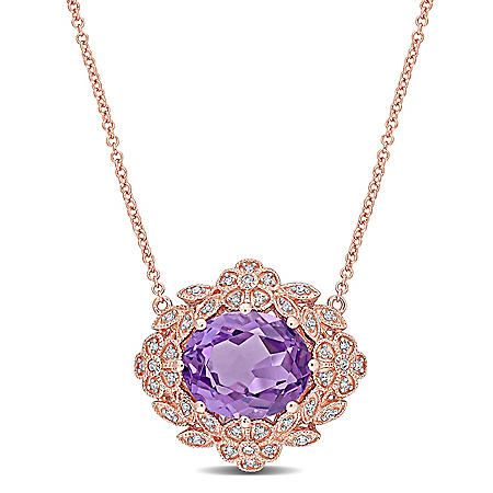 4 CT. T.G.W. Amethyst and 0.19 CT. T.W. Diamond Cluster Pendant in 14K Rose Gold