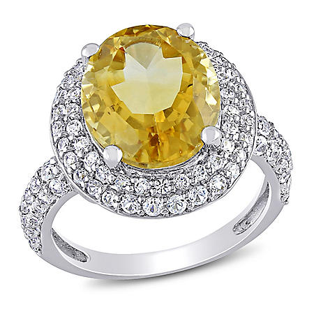 Citrine and Created White Sapphire Cocktail Ring in Sterling Silver