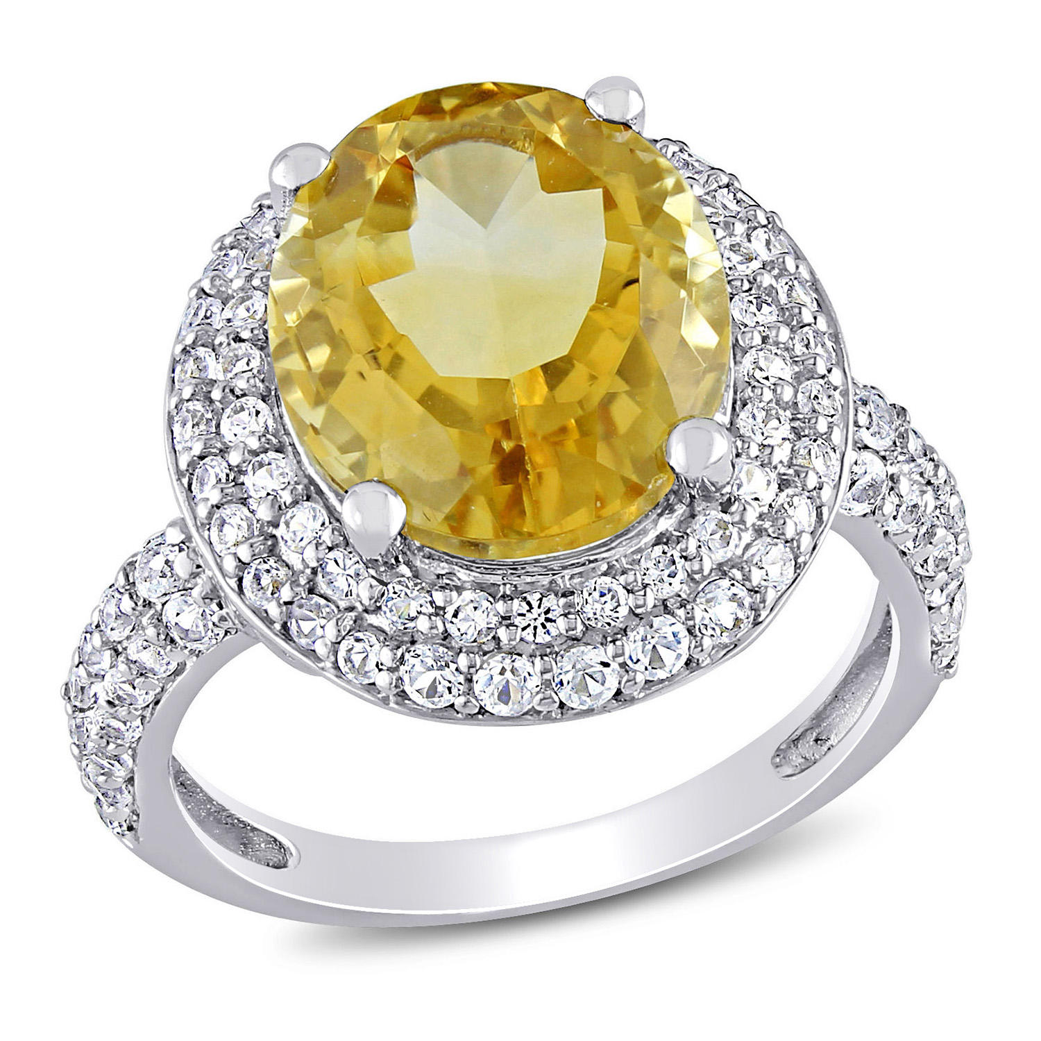 4.3 CT. T.G.W. Citrine & 1.14 CT. T.G.W. White Sapphire Cocktail Ring