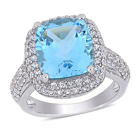6.25 CT. T.G.W. Sky Blue Topaz and 1.02 CT. T.G.W. Created White Sapphire Cocktail Ring in Sterling Silver