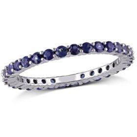 1.38 CT. Round-Cut Sapphire Eternity Anniversary Ring in 14k White Gold