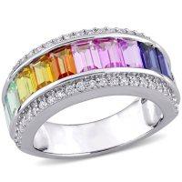Multi-Color Created Sapphire Semi-Eternity Anniversary Ring in Sterling Silver