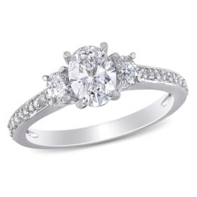 Allura 1.08 CT. T.W. Oval and Round-Cut Diamond Three Stone Engagement Ring in 14k White Gold