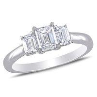 Allura 0.95 CT. T.W. Emerald-cut Diamond Three Stone Engagement Ring in 14k White Gold