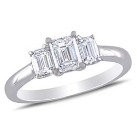 Allura 0.95 CT. T.W. Emerald-cut Diamond Three Stone Engagement Ring in 14k White Gold